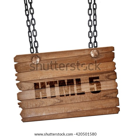 html 5, 3D rendering, wooden board on a grunge chain