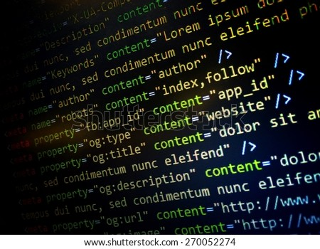HTML Website code in text editor