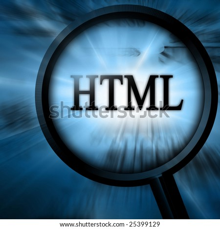 html with magnifier on a blue background - stock photo