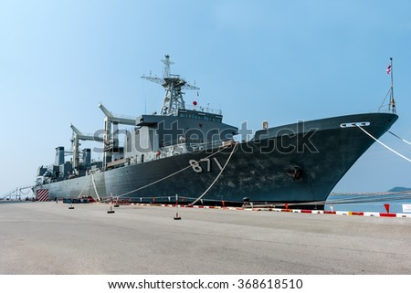HTMS Similan a large logistics ship of the Royal Navy at Sattahip Naval Base on October 23, 2015. The port is one of the few deep-water ports of Thailand for Naval base and commercial ships.