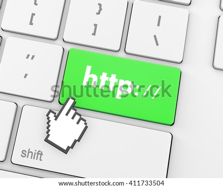 Http button on keyboard key - business concept, 3d rendering - stock photo
