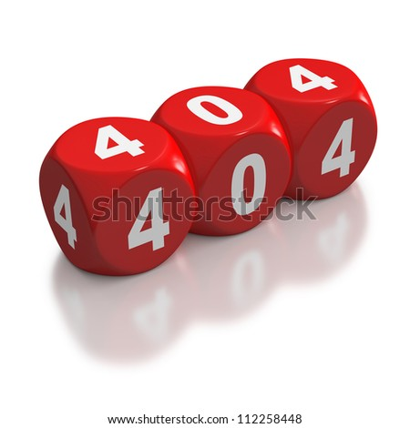 HTTP Not Found error code 404 on red dice or blocks on white background - stock photo