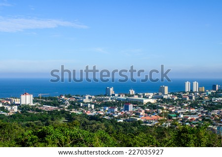 Hua Hin City from Hin Lek Fai view point, Thailand.