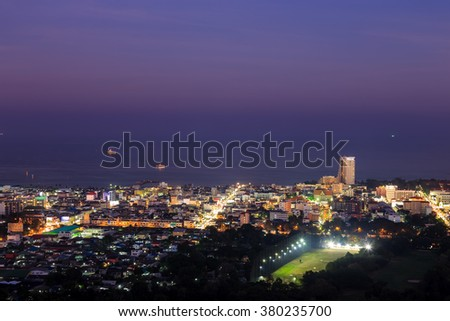 Hua Hin city from scenic point at twilight, Hua  Hin, Thailand