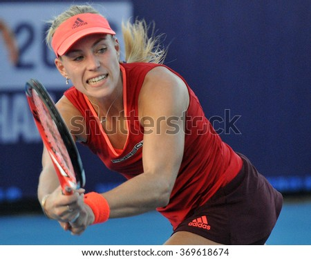 HUA HIN-JAN 1: Angelique Kerber of Germany in action during a match of WORLD TENNIS THAILAND CHAMPIONSHIP 2016 at True Arena Hua Hin on January 1, 2016 in Hua Hin, Thailand - stock photo