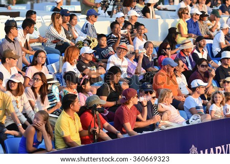 HUA HIN-JAN 1:Unidentified fans of Thailand supporters during the  WORLD TENNIS THAILAND CHAMPIONSHIP 2016 at Hua Hin Centennial Club on January 1, 2016 in Hua Hin, Thailand