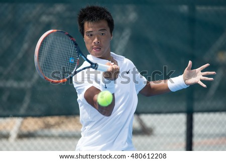 HUA HIN, THAILAND-AUGUST 25:Fajing Sun of China returns a ball during semi-final of ITF Pro Circuit Thailand Men's F1 on August 25, 2016 at True Arena Hua Hin in Hua Hin, Thailand