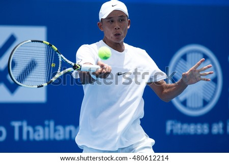 HUA HIN, THAILAND-AUGUST 26:Ti Chen of Chinese Taipei returns a ball during semi-final of ITF Pro Circuit Thailand Men's F1 on August 26, 2016 at True Arena Hua Hin in Hua Hin, Thailand