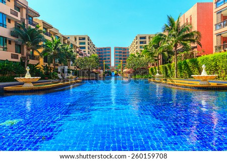 "HUA HIN, THAILAND - DEC 15: Main pool of Marrakech Hotel on Dec 15, 2014 in Hua Hin. The design of the hotel was Inspired by rich and colorful culture of Morocco's Marrakech or ""a city of red""."