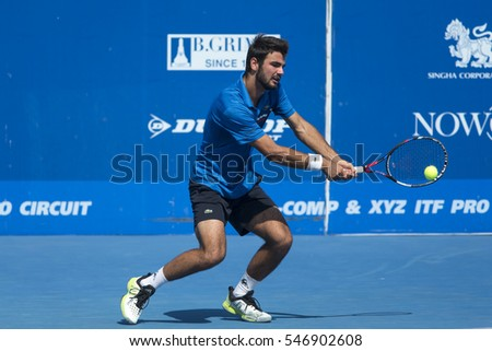 HUA HIN, THAILAND-DECEMBER 29:Fabien Reboul of France returns a ball during Day 4 of ITF Pro Circuit Thailand Men's F6 on December 29, 2016 at True Arena Hua Hin in Hua Hin, Thailand