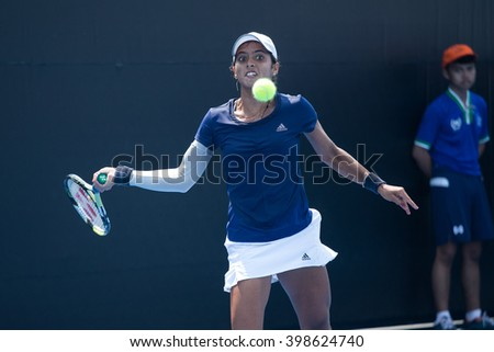 HUA HIN, THAILAND-FEBRUARY 5:Ankita Raina of India returns a ball during Day 3 of Fed Cup by BNP Paribas on February 5, 2016 at True Arena Hua Hin in Hua Hin, Thailand