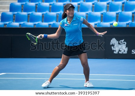 HUA HIN, THAILAND-FEBRUARY 4:Bunyawi Thamchaiwat of Thailand returns a ball during Day 2 of Fed Cup by BNP Paribas on February 4, 2016 at True Arena Hua Hin in Hua Hin, Thailand