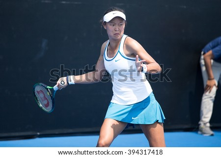 HUA HIN, THAILAND-FEBRUARY 4:Kai-Chen Chang of Chinese Taipei returns a ball during Day 2 of Fed Cup by BNP Paribas on February 4, 2016 at True Arena Hua Hin in Hua Hin, Thailand