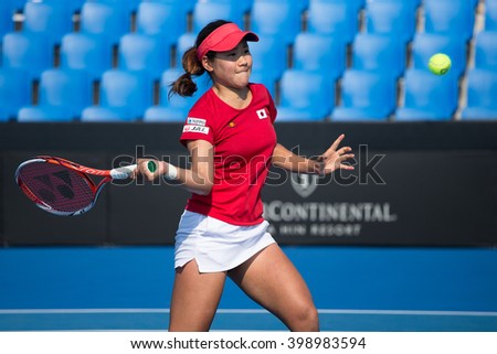 HUA HIN, THAILAND-FEBRUARY 5:Nao Hibino of Japan returns a ball during Day 3 of Fed Cup by BNP Paribas on February 5, 2016 at True Arena Hua Hin in Hua Hin, Thailand
