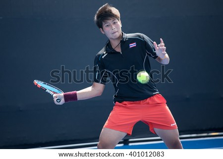 HUA HIN, THAILAND-FEBRUARY 6:Peangtarn Plipuech of Thailand returns a ball during Day 4 of Fed Cup by BNP Paribas on February 6, 2016 at True Arena Hua Hin in Hua Hin, Thailand