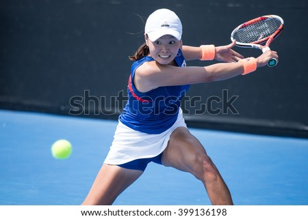 HUA HIN, THAILAND-FEBRUARY 5:Su Jeong Jang of South Korea returns a ball during Day 3 of Fed Cup by BNP Paribas on February 5, 2016 at True Arena Hua Hin in Hua Hin, Thailand