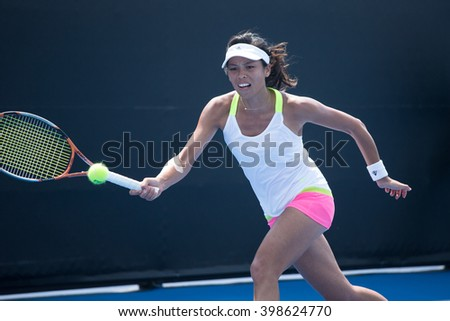 HUA HIN, THAILAND-FEBRUARY 5:Su-Wei Hsieh of Chinese Taipei returns a ball during Day 3 of Fed Cup by BNP Paribas on February 5, 2016 at True Arena Hua Hin in Hua Hin, Thailand