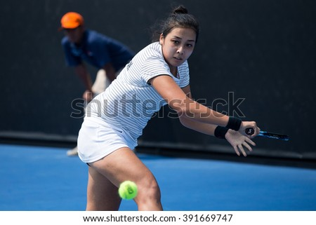 HUA HIN, THAILAND-FEBRUARY 3:Zarina Diyas of Kazakhstan returns a ball during Day 1 of Fed Cup by BNP Paribas on February 3, 2016 at True Arena Hua Hin in Hua Hin, Thailand