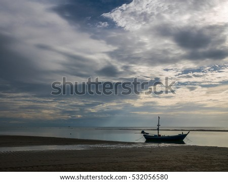 HUA HIN THAILAND : fishing boat with sky and sea on twilight sunrise time seascape