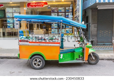 HUA HIN, THAILAND - JAN 11: Tuk Tuk at Hua Hin on May 25, 2014 in Hua Hin. Tuk Tuk is a samll taxi which is popular transportation in Hua Hin.