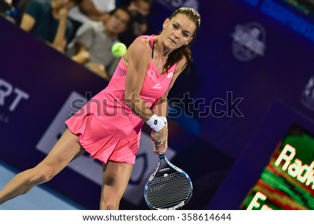 Hua Hin Thailand-Jan 1:World No.5 Tennis player Aginieszka Radwanska in World Tennis Thailand Championship 2016 Radwanska had win to Sara Errani 6-1,6-3 on January1,2016 at True Arena Hua Hin,Thailand