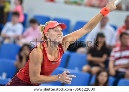 hua Hin Thailand-Jan1:World No.10 Tennis player Angelique Kerber in World Tennis Thailand Championship 2016 Kerber had win Venus Williams from 6-4,6-3 on January1,2016 at True Arena Hua Hin,Thailand
