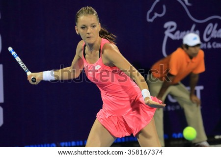 Hua-Hin, Thailand - January 1 : Agnieszka Radwanska action in World Tennis Thailand Championship Radwanska victory 6-1, 6-3 to Erarrni in Jan 1, 2016 at Hua-Hin, Thailand. - stock photo
