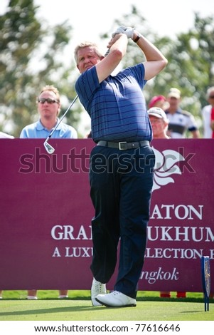 HUA HIN THAILAND - JANUARY 7: European team captain Colin Montgomerie of Scotland in action on day 1 of The Royal Trophy Europe VS Asia on January 7, 2011 at Black Mountain Golf Club Hua Hin Thailand