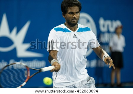 HUA HIN, THAILAND-JUNE 5:Karunuday Singh of India returns a ball during the final of B.Grimm ATT Thailand M2 on June 5, 2016 at True Arena Hua Hin in Hua Hin, Thailand