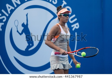 HUA HIN, THAILAND-JUNE 22:Patcharin Cheapchandej of Thailand prepares to serve during the final of 2016 Financia Syrus ATT Thailand on June 22, 2016 at True Arena Hua Hin in Hua Hin, Thailand