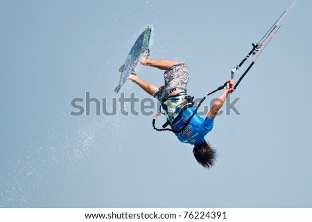 HUA HIN THAILAND - MARCH 18: PKRA Freestyle rider Thomas Paris of France in action during Day 5 of 2011 Hua Hin Kiteboard World Cup on March 18, 2011 at Hua Hin Beach in Hua Hin, Thailand
