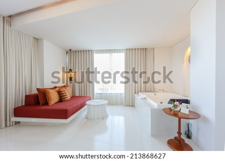 "HUA HIN, THAILAND - MAY 23: Room interior of Marrakech Hotel on May 23, 14 in Hua Hin. The design of the hotel was Inspired by rich and colorful culture of Morocco's Marrakech or ""a city of red""."