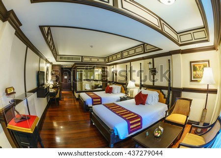 HUA HIN, THAILAND - MAY 13: Room Intrior of Wora Bura Hotel May 13, 2016 in Hua Hin. It was designed as Thai-Colonial style concept, situated along 75 metres of beachfront of Hua HIn.