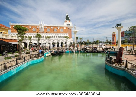 HUA HIN, THAILAND - NOV 13: Vanezia Hua Hin on Nov 15, 2013 in Hua Hin. It's a famous tourists attraction in Hua Hin which the inspiration of this project came from Venice in Italy. - stock photo