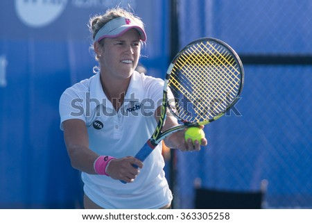 HUA HIN, THAILAND-NOVEMBER 10:Alexa Glatch of USA prepares to serve during Day 2 of EA Hua Hin Championship 2015 on November 10, 2015 at Hua Hin Centennial Club in Hua Hin, Thailand