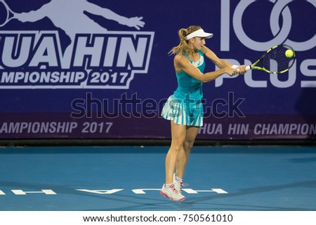 HUA HIN, THAILAND-NOVEMBER 6:Barbara Haas of Austria returns a ball during Day 1 of EA Hua Hin Championship 2017 on November 6, 2017 at True Arena Hua Hin in Hua Hin, Thailand
