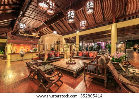 HUA HIN, THAILAND - OCT 22: Lobby of Anantara Hua Hin Resort on Oct 22, 2015 in Hua Hin. It's among the most luxurious Hua Hin hotels, with the style of an ancient Thai village.
