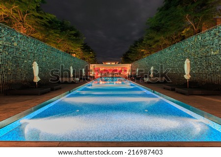 HUA HIN, THAILAND - SEP 5: Swimming pool at Hotel De La Paix on Sep 5,14 in Hua Hin. The hotel was designed by maverick, iconoclast and visionary architect and designer Duangrit Bunnag.