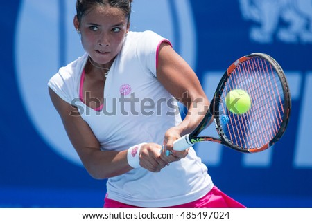 HUA HIN, THAILAND-SEPTEMBER 19:Katharina Lehnert of Philippines returns a ball during Day 1 of ITF Thailand Women's Pro Circuit 1 on September 19, 2016 at True Arena Hua Hin in Hua Hin, Thailand