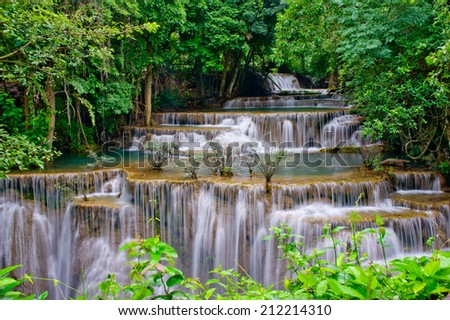 Hua Mae Kaminwater Water fall kanchanaburi thailand - stock photo