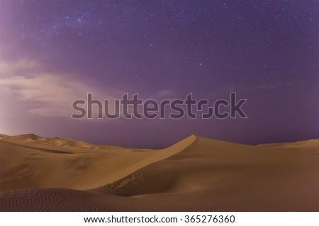 Huacachina desert dunes at night, Ica Region, Peru - stock photo