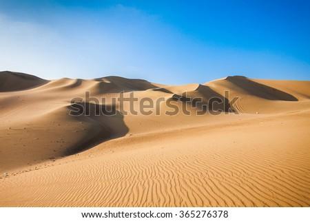 Huacachina desert dunes in Ica Region, Peru - stock photo