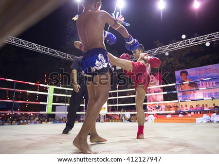 HUAHIN THAILAND-16APR,2016:Unidentified people,Muaythai,Thai boxing Martial Art of Thailand at huahin,thailand on 16 april 2016