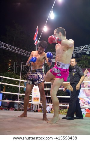 HUAHIN THAILAND-16APR,2016:Unidentified people,Muaythai,Thai boxing Martial Art of Thailand at huahin,thailand on 16 april 2016 - stock photo