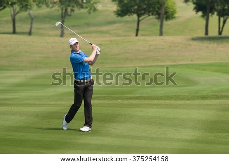 HUAHIN, THAILAND-FEBRUARY 12: Andrew Dodt of Australia in action during Round 1 of 2015 True Thailand Classic on February 12, 2015 at Black Mountain Golf Club in Hua Hin, Thailand - stock photo