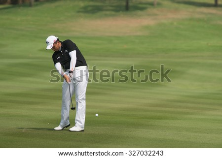 HUAHIN, THAILAND-FEBRUARY 12: Chien-yao Hung of Korea in action during Round 1 of 2015 True Thailand Classic on February 12, 2015 at Black Mountain Golf Club in Hua Hin, Thailand
