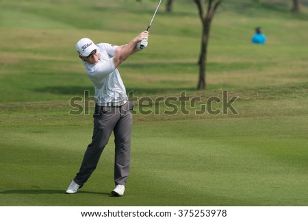 HUAHIN, THAILAND-FEBRUARY 12: Chris Lloyd of England in action during Round 1 of 2015 True Thailand Classic on February 12, 2015 at Black Mountain Golf Club in Hua Hin, Thailand
