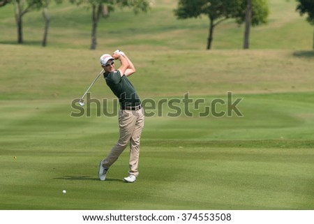HUAHIN, THAILAND-FEBRUARY 12: Kieran Pratt of Australia in action during Round 1 of 2015 True Thailand Classic on February 12, 2015 at Black Mountain Golf Club in Hua Hin, Thailand - stock photo