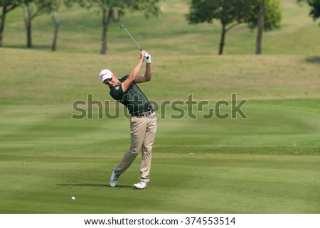 HUAHIN, THAILAND-FEBRUARY 12: Kieran Pratt of Australia in action during Round 1 of 2015 True Thailand Classic on February 12, 2015 at Black Mountain Golf Club in Hua Hin, Thailand