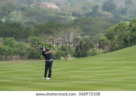 HUAHIN, THAILAND-FEBRUARY 12: Matt Ford of England in action during Round 1 of 2015 True Thailand Classic on February 12, 2015 at Black Mountain Golf Club in Hua Hin, Thailand